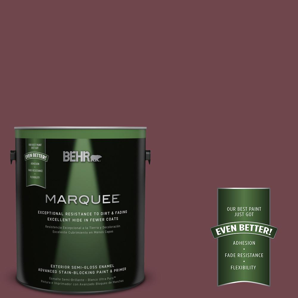 BEHR MARQUEE 1-gal. #PPU1-14 Formal Maroon Semi-Gloss Enamel Exterior Paint