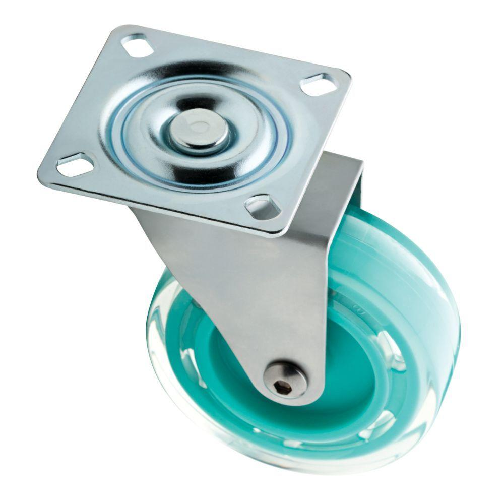 3 in. Teal Swivel Plate Caster with 110 lb. Load Rating