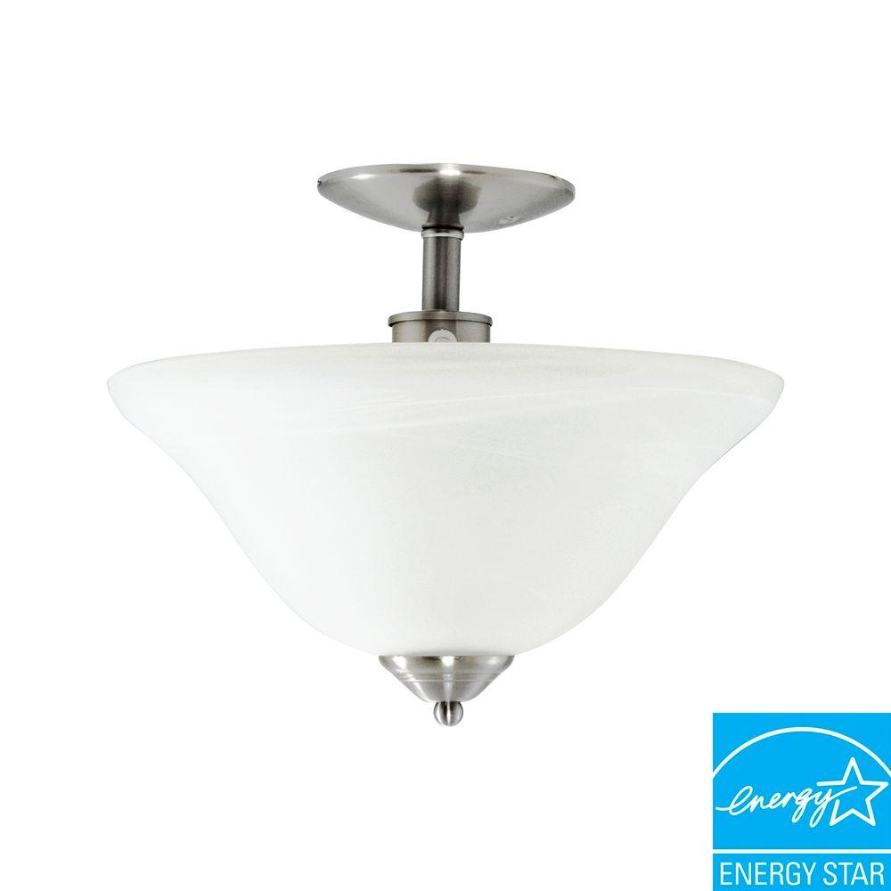 Efficient Lighting Contemporary Semi Flush Ceiling Light in Brushed Nickel Finish with Bulbs-DISCONTINUED