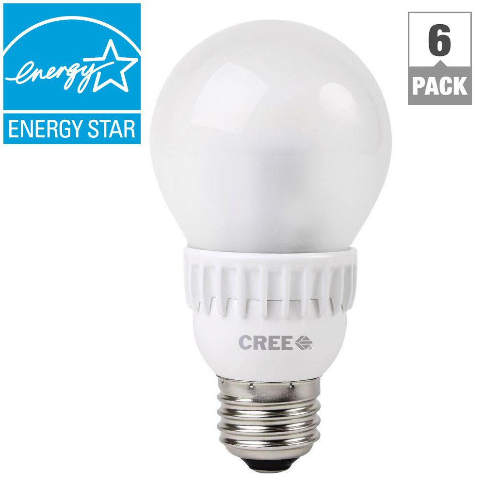 Cree 60W Equivalent Daylight (5000K) A19 Dimmable LED Light Bulb (6-Pack)
