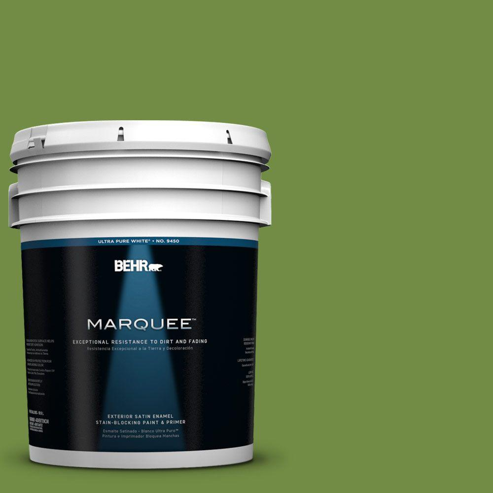 BEHR MARQUEE 5-gal. #420D-6 Thyme Green Satin Enamel Exterior Paint-945305 -