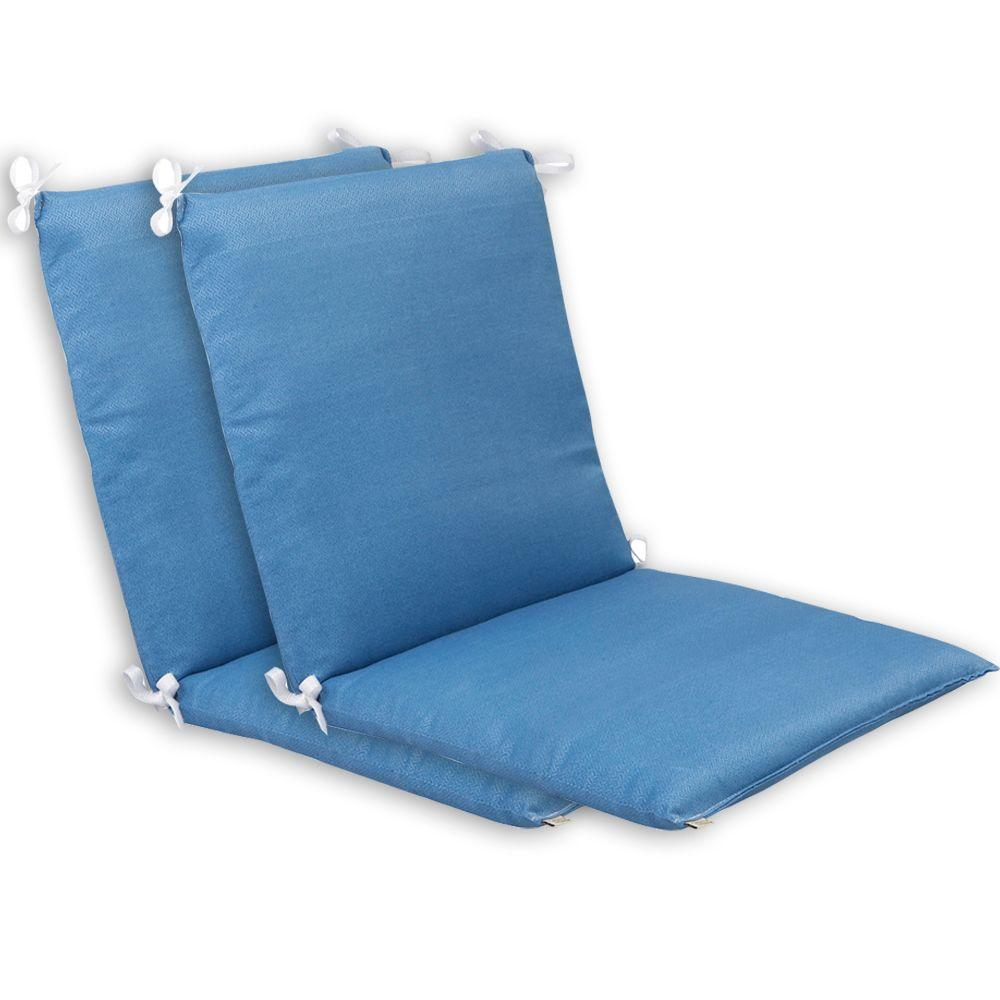 Plantation Patterns Coastal Blue Textured Mid Back Outdoor Chair Cushion (2-Pack)-DISCONTINUED