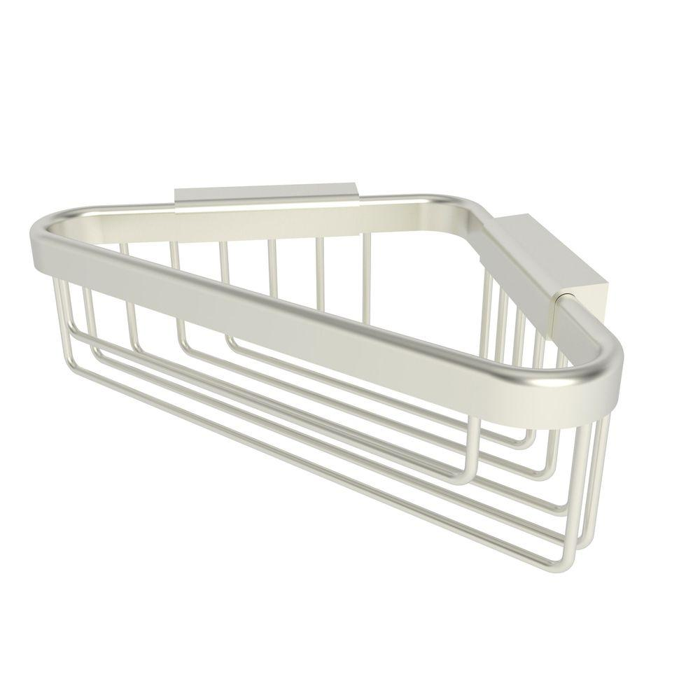 Hotelier 6 in. Deep Corner Basket in Satin Nickel