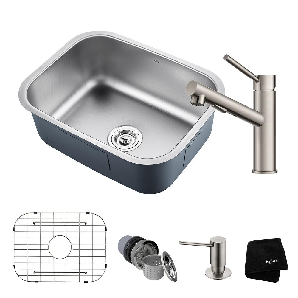 Outlast All-in-One Undermount Stainless Steel 23 in. Single Bowl Kitchen Sink