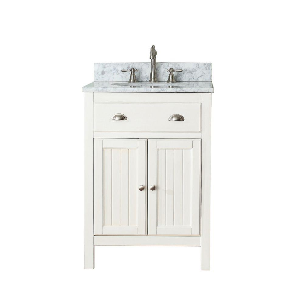 Avanity Hamilton 25 in. W x 22 in. D x 35 in. H Vanity in French White with Marble Vanity Top in Carrera White with White Basin