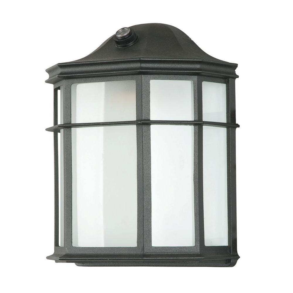 1-Light Black Outdoor Lantern with Acrylic Lens