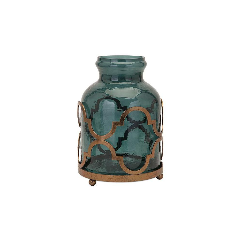 Lea 15.25 in Glass and Iron Decorative Vase in Blue and