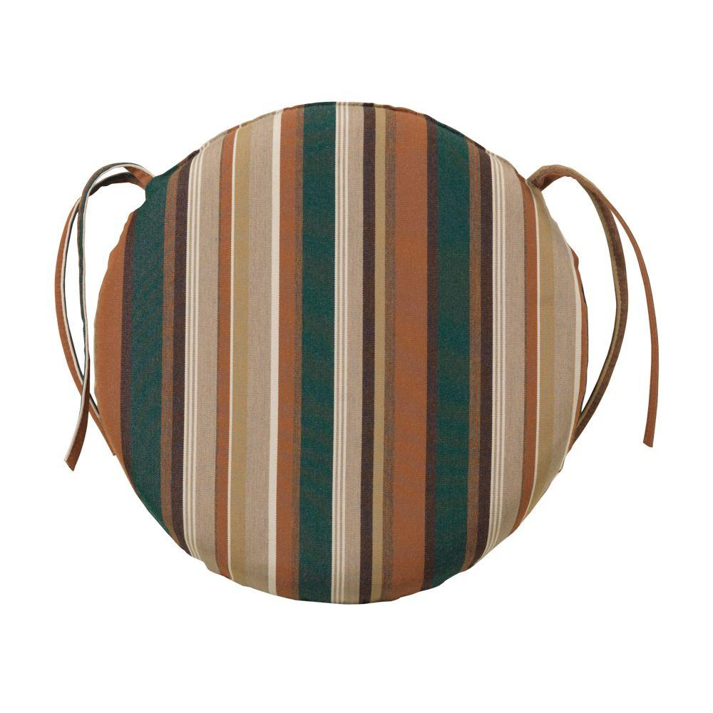 Home Decorators Collection Rustic Stripe Round Outdoor Chair Cushion-DISCONTINUED