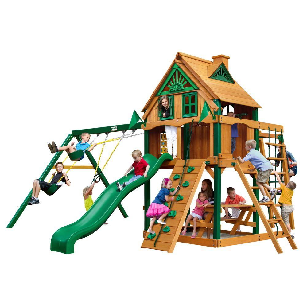 Navigator Treehouse with Fort Add-On and Timber Shield Cedar Playset