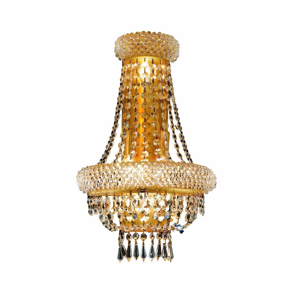 Elegant Lighting 4-Light Chrome Wall Sconce with Clear Crystal-EL1803W12SC/RC -