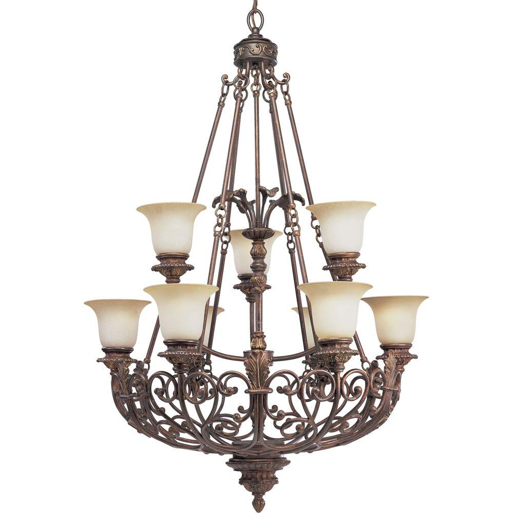 Progress Lighting Messina Collection 9-Light Aged Mahogany Chandelier