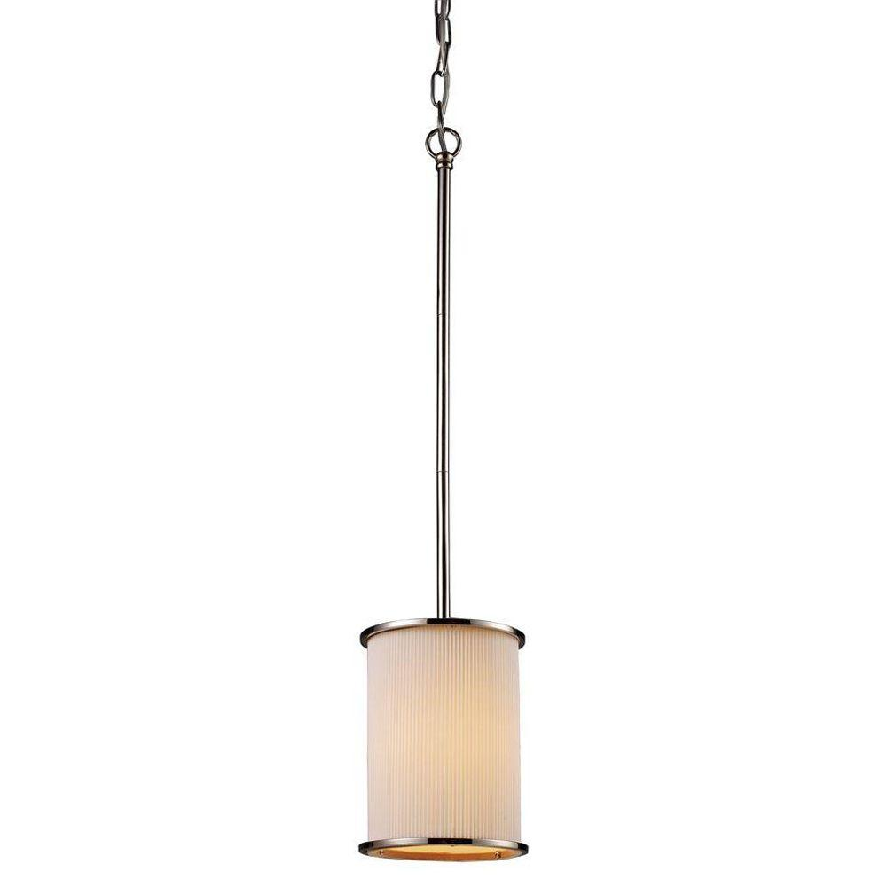 Titan Lighting 1-Light Polished Nickel Ceiling Pendant