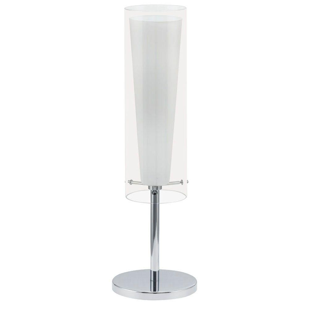Eglo Pinto 20 in. Chrome Table Lamp with Clear White Shade