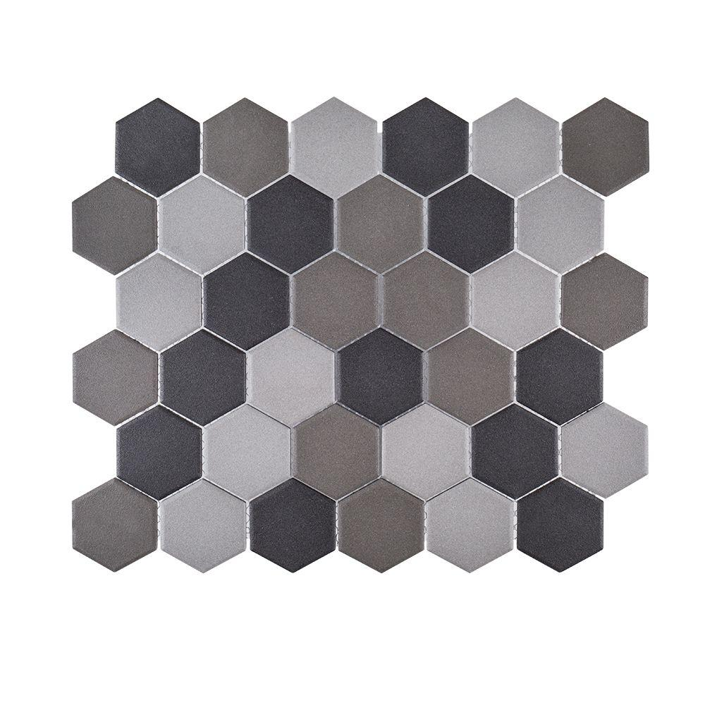 Graphite 11 in. x 12.625 in. x 6 mm Porcelain Mosaic