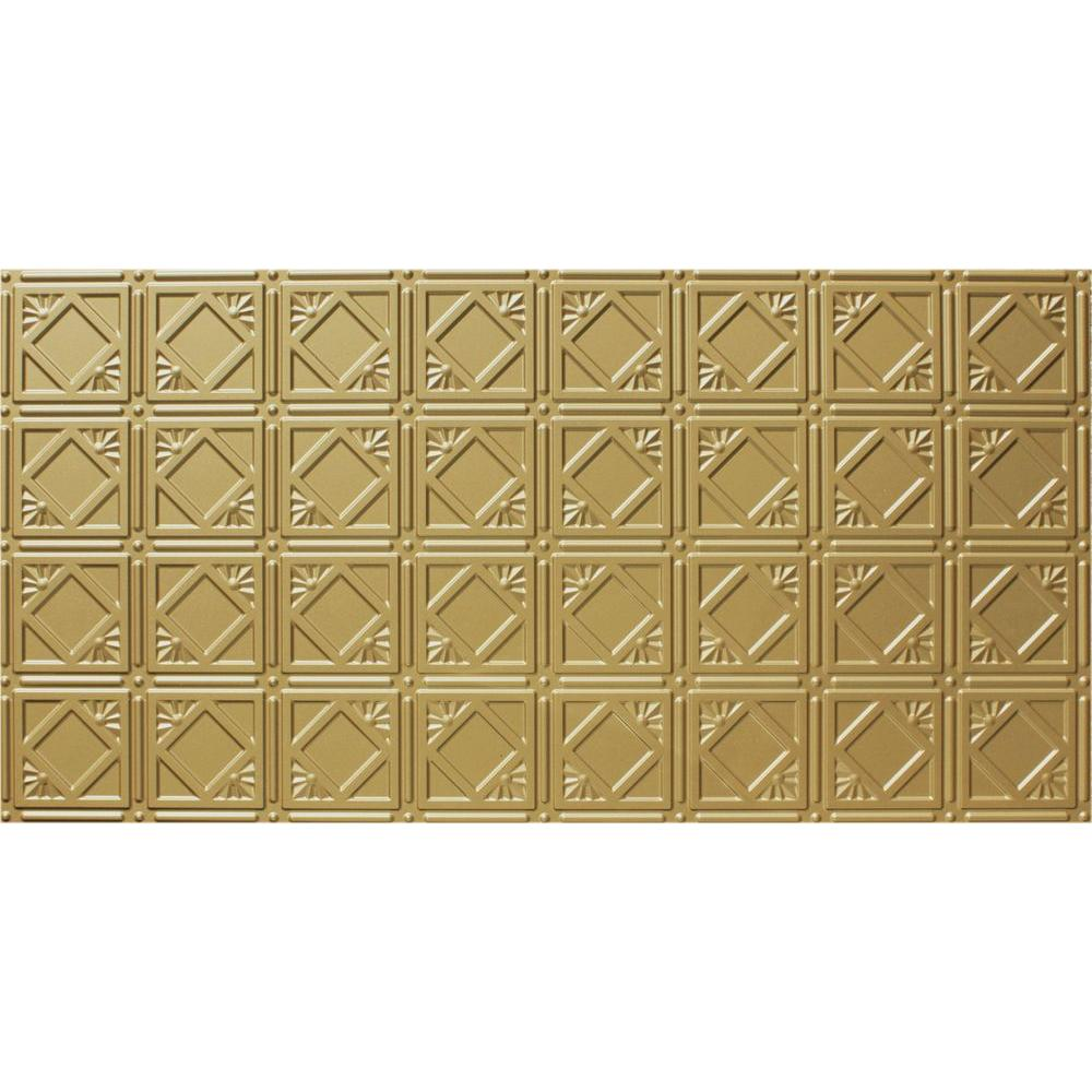 Global Specialty Products Dimensions Faux 2 ft. x 4 ft. Glue-up Tin Style Surface Mount Ceiling Tile in Brass
