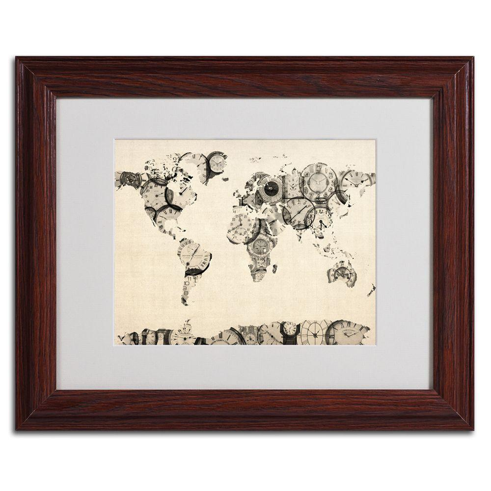 null 11 in. x 14 in. Old Clocks World Map Matted Framed Art