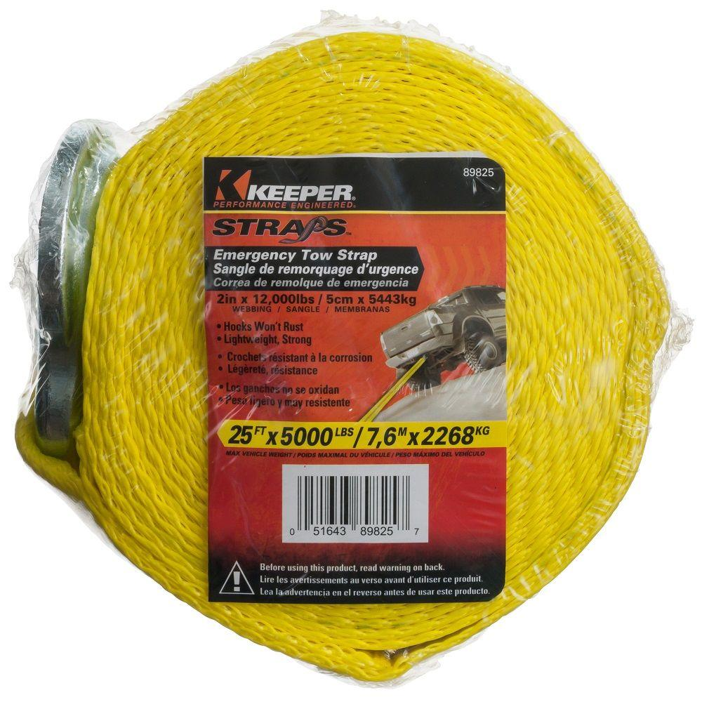 Keeper 25 ft. x 2 in. Heavy-Duty Tow Strap, Yellow
