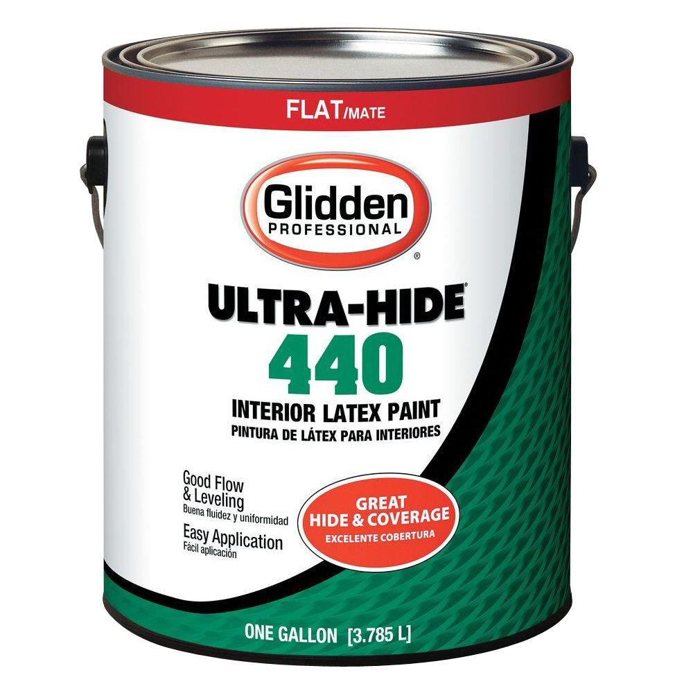 Interior Paint Coverage Per Gallon: Glidden Professional 1 Gal. Ultra-Hide 440 Flat Base 1