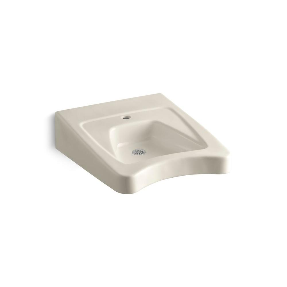 Morningside Wall-Mount Vitreous China Bathroom Sink in Almond with Overflow