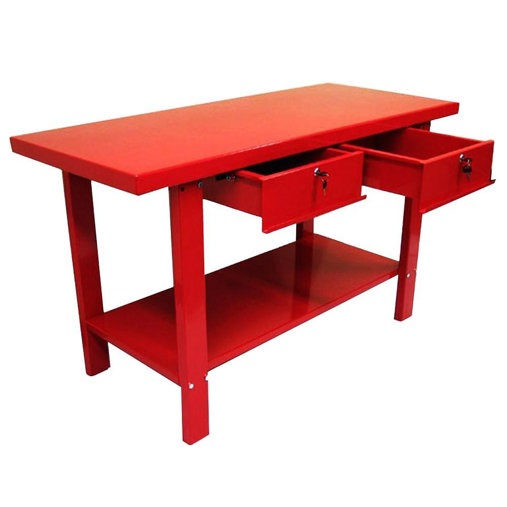 Excel 59 in. W x 25.5 in. D x 34 in. H Steel Work Bench in Red