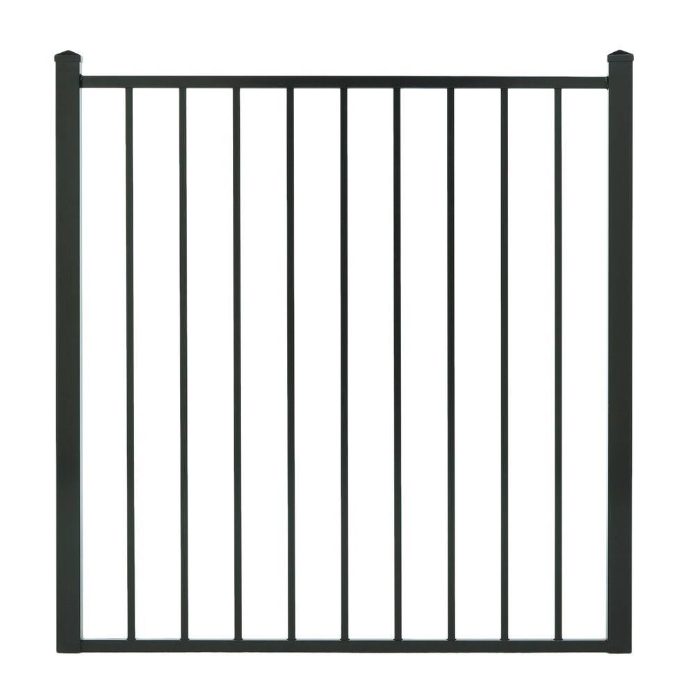 Cercadia 4 ft. W x 4 ft. H Black Aluminum Gate Flat Top for 2-Rail-DISCONTINUED