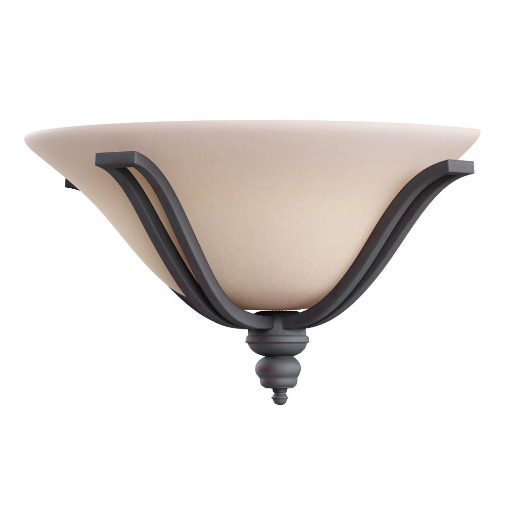Wall sconce supporting a flared Wilshire glass shade