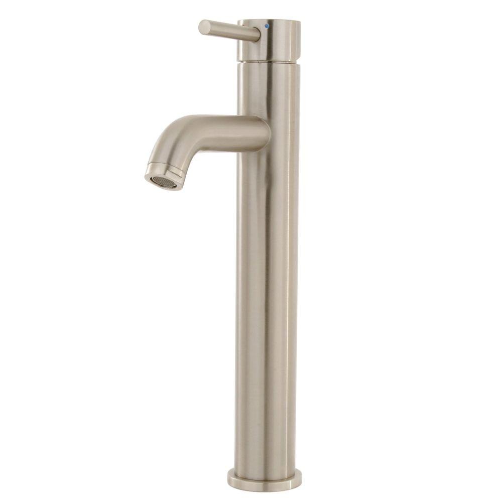 Pegasus Tower Single Hole 1-Handle Low-Arc Bathroom Vessel Faucet in Brushed Nickel-DISCONTINUED