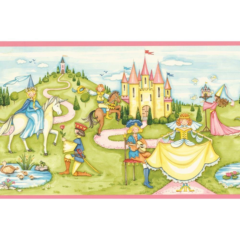 Disney 8 in. x 10 in. Pink Princess Border Sample-DISCONTINUED