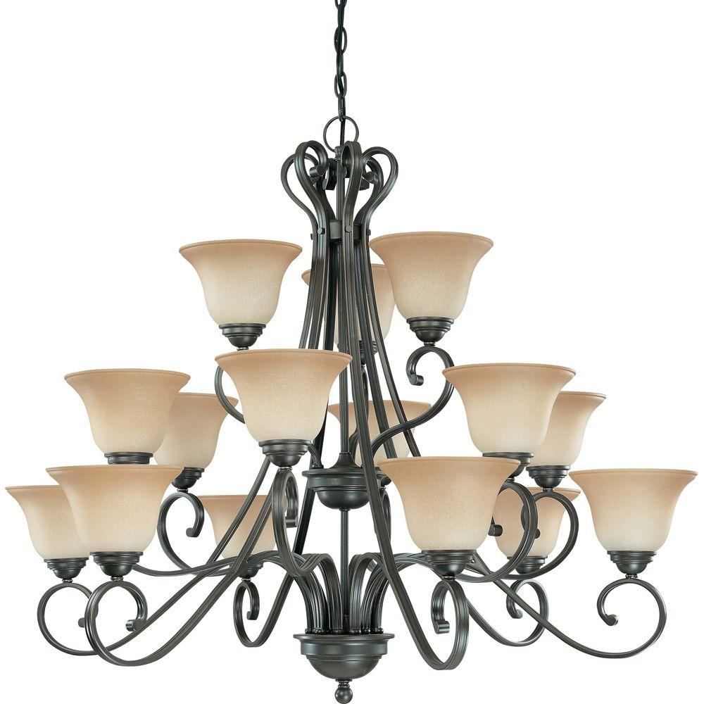 Glomar 15-Light Sudbury Bronze Chandelier with Champagne Linen Glass Shade