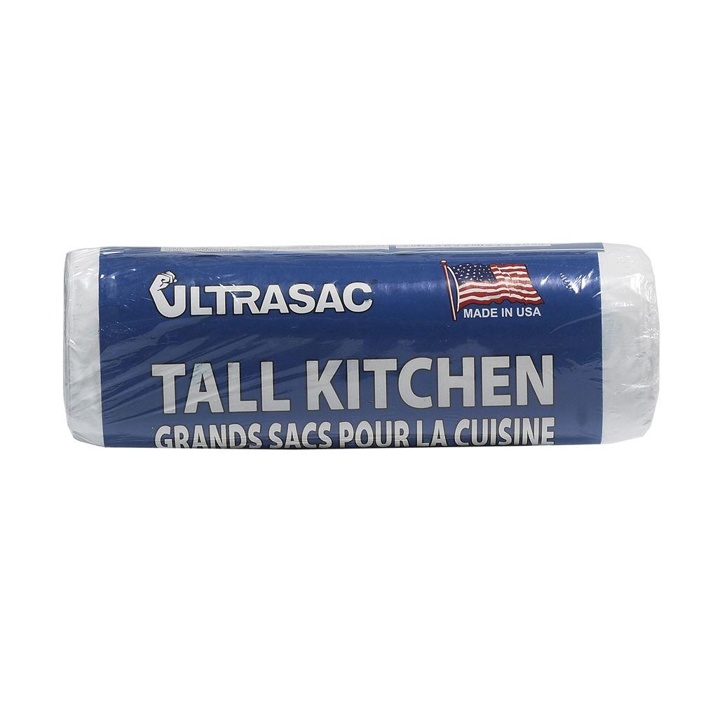 Ultrasac 13 Gal Tall Kitchen White Trash Bags Roll 18 Count 13070w18 The Home Depot