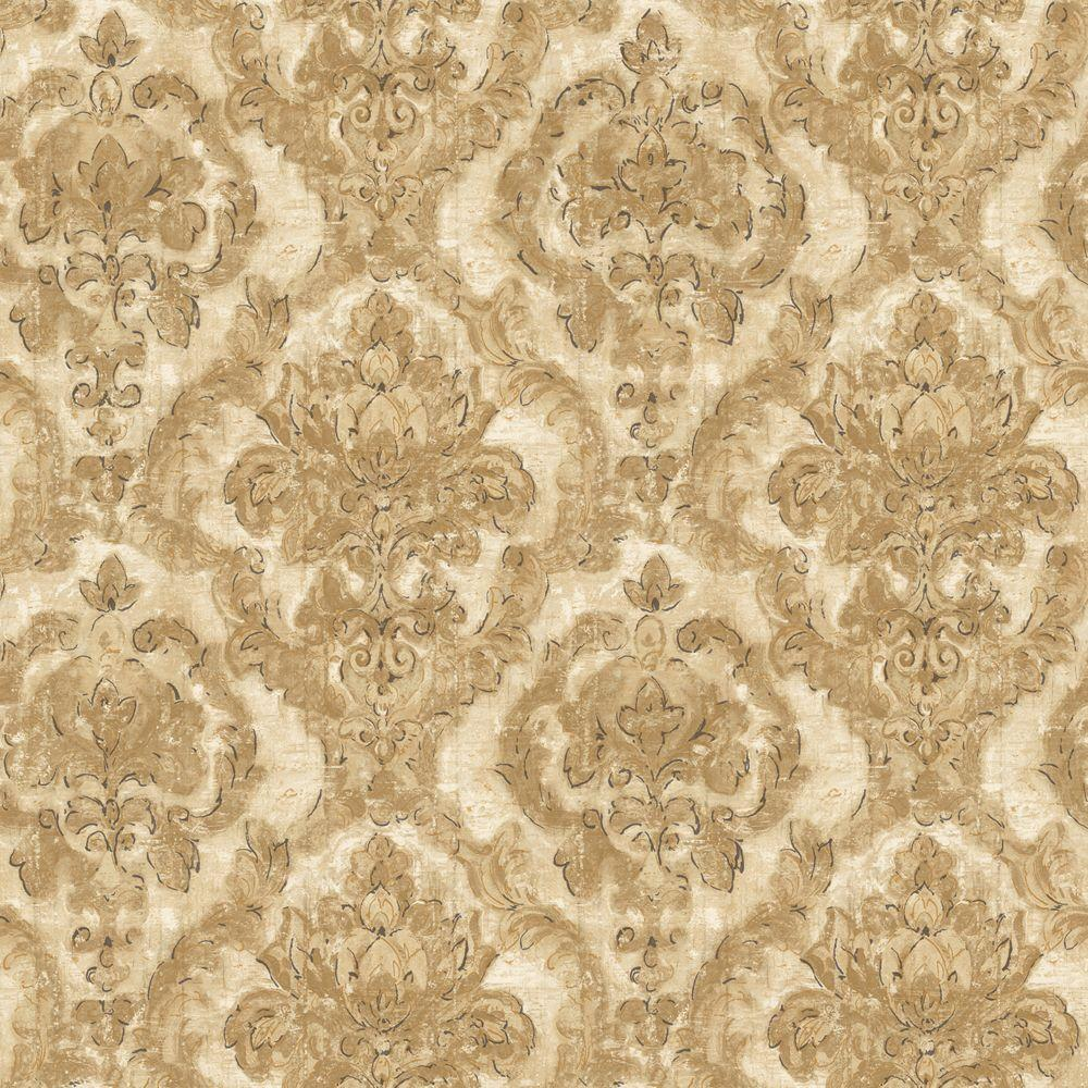 The Wallpaper Company 8 in. x 10 in. Brown and Beige Damask Tapestry Wallpaper Sample
