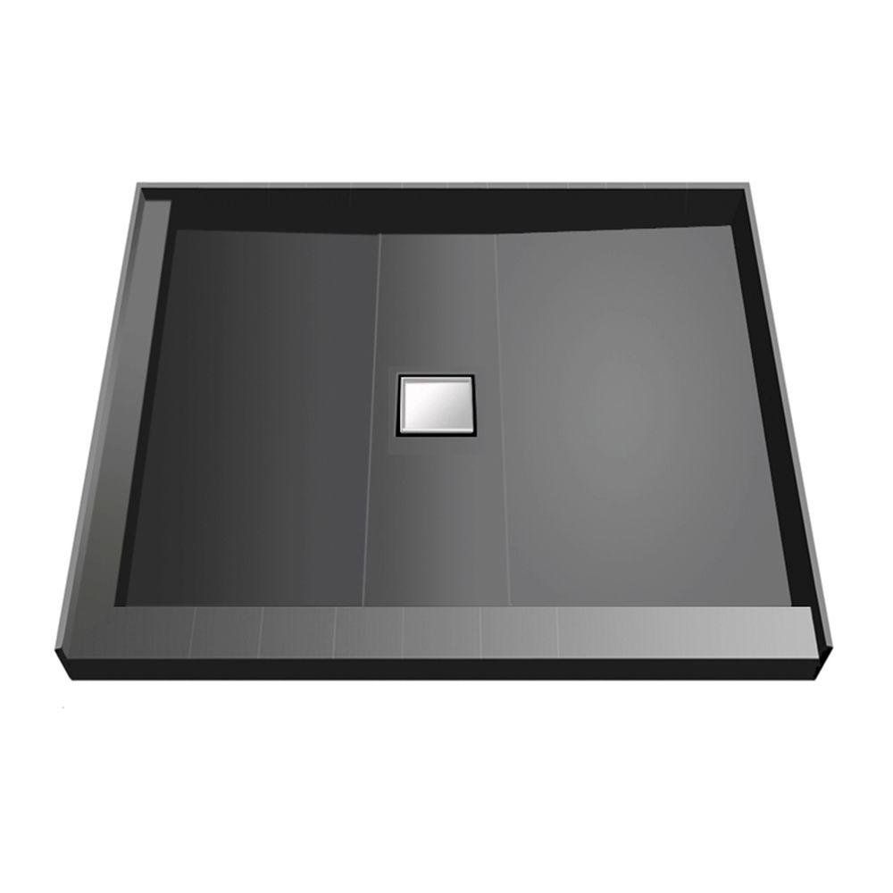 48 in. x 48 in. Double Threshold Shower Base with Center