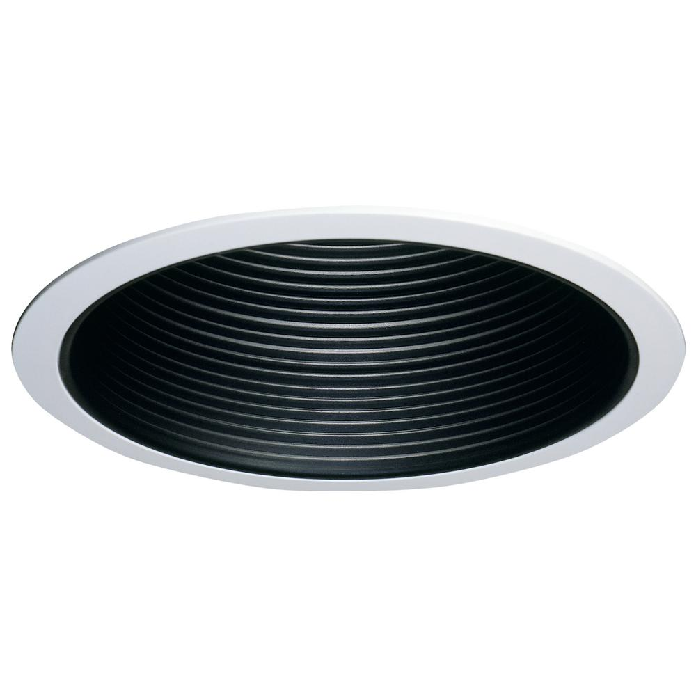 6 in. Black Recessed Lighting Coilex Baffle and White Trim (6-Pack)