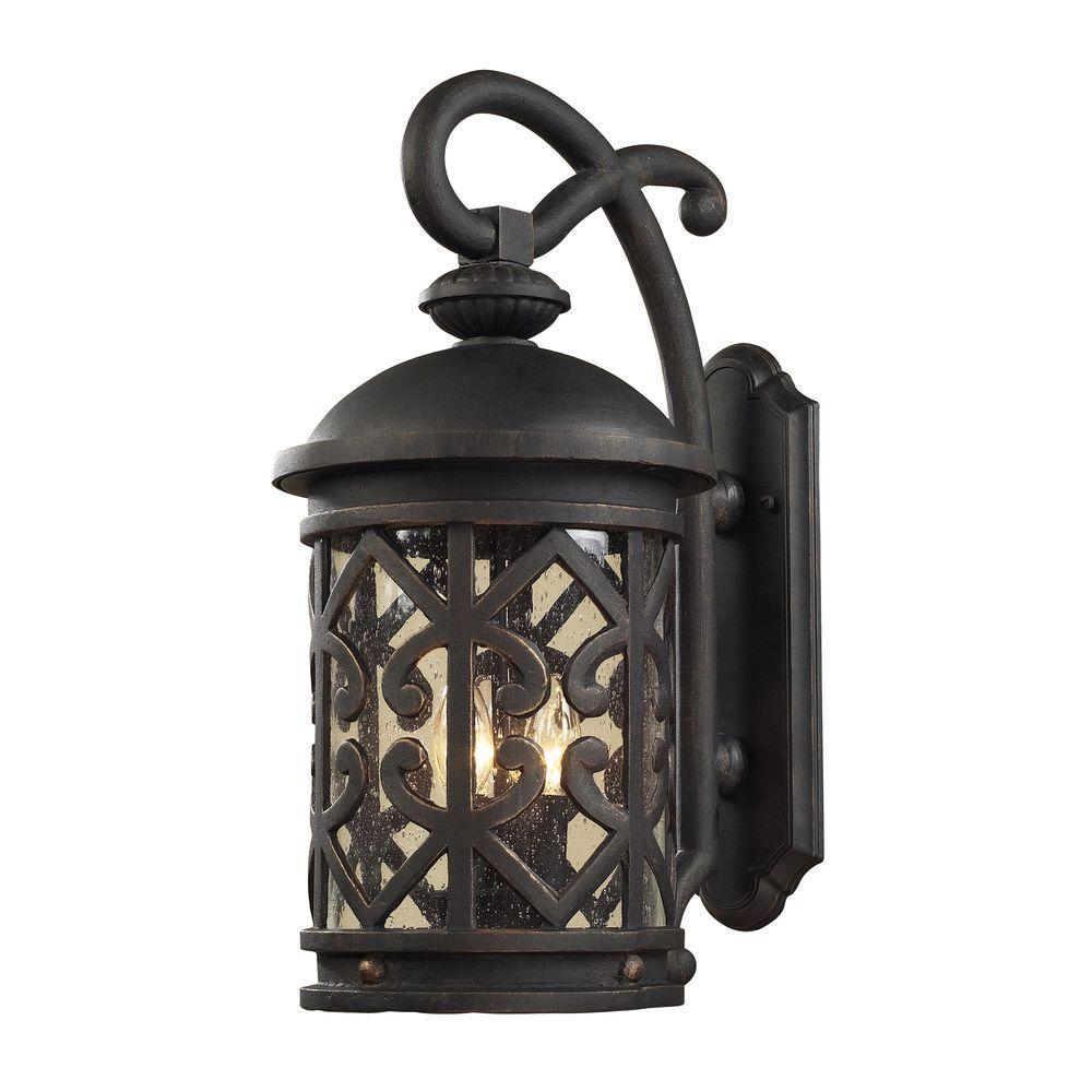 Titan Lighting Tuscany Coast 2-Light Outdoor Weathered Charcoal Wall Sconce