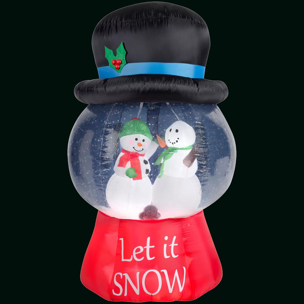 Gemmy 43 in. H Inflatable Snow Globe with Hat-Snowman Scene-89548X -