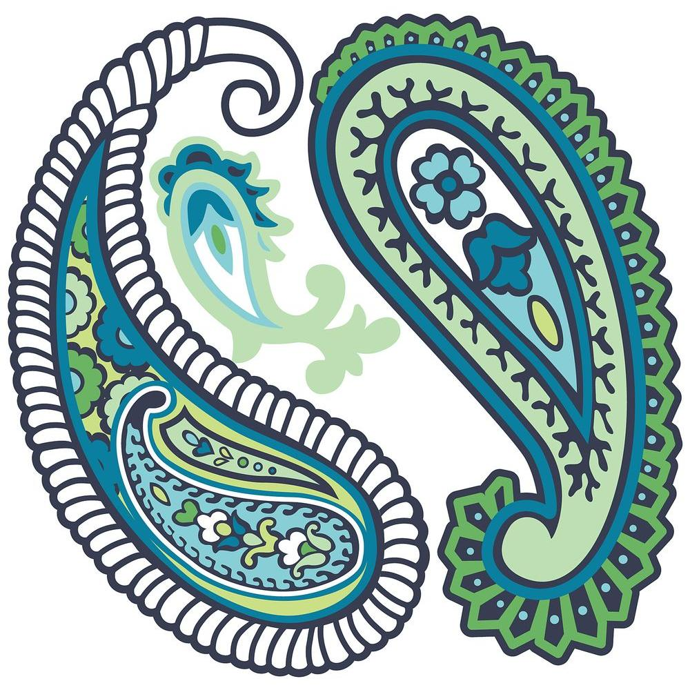 WallPOPs 13 in. x 13 in. Paisley Please Dot - Blue/Green 8-Piece Wall Decal-DISCONTINUED