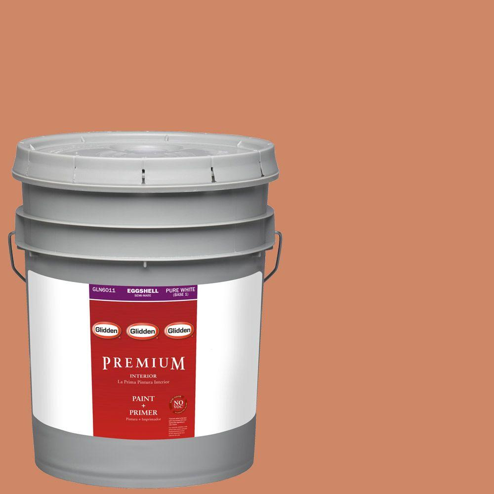 Interior Paint, Exterior Paint & Paint Samples: Glidden Premium Paint 5-gal. #HDGO21 New Terra Cotta Eggshell Latex Interior Paint with Primer HDGO21P-05E