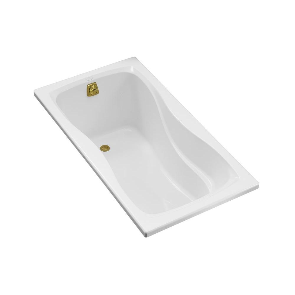 Hourglass 5 ft. Reversible Drain with Integral Tile Flange Acrylic Bathtub in White