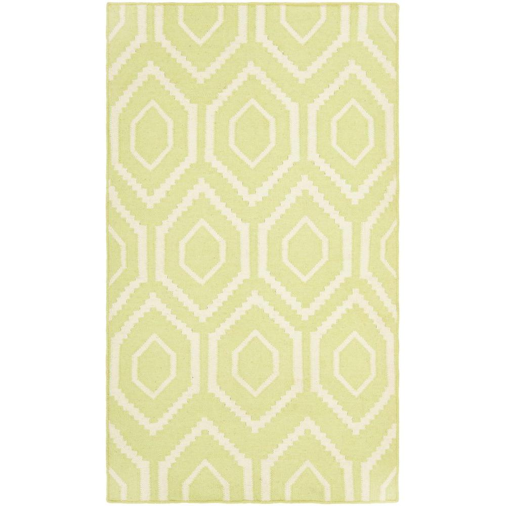 Dhurries Green/Ivory 3 ft. x 5 ft. Area Rug