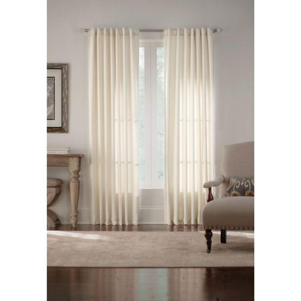 Home Decorators Collection Ivory Monaco Thermal Foam Backed Lined Back Tab Curtain - 52 in. W x 84 in. L