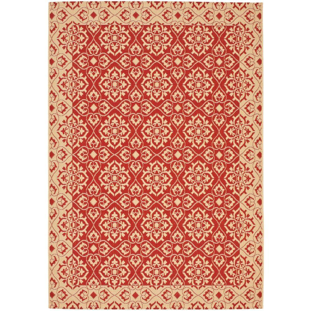 Courtyard Red/Cream 6 ft. 7 in. x 9 ft. 6 in.