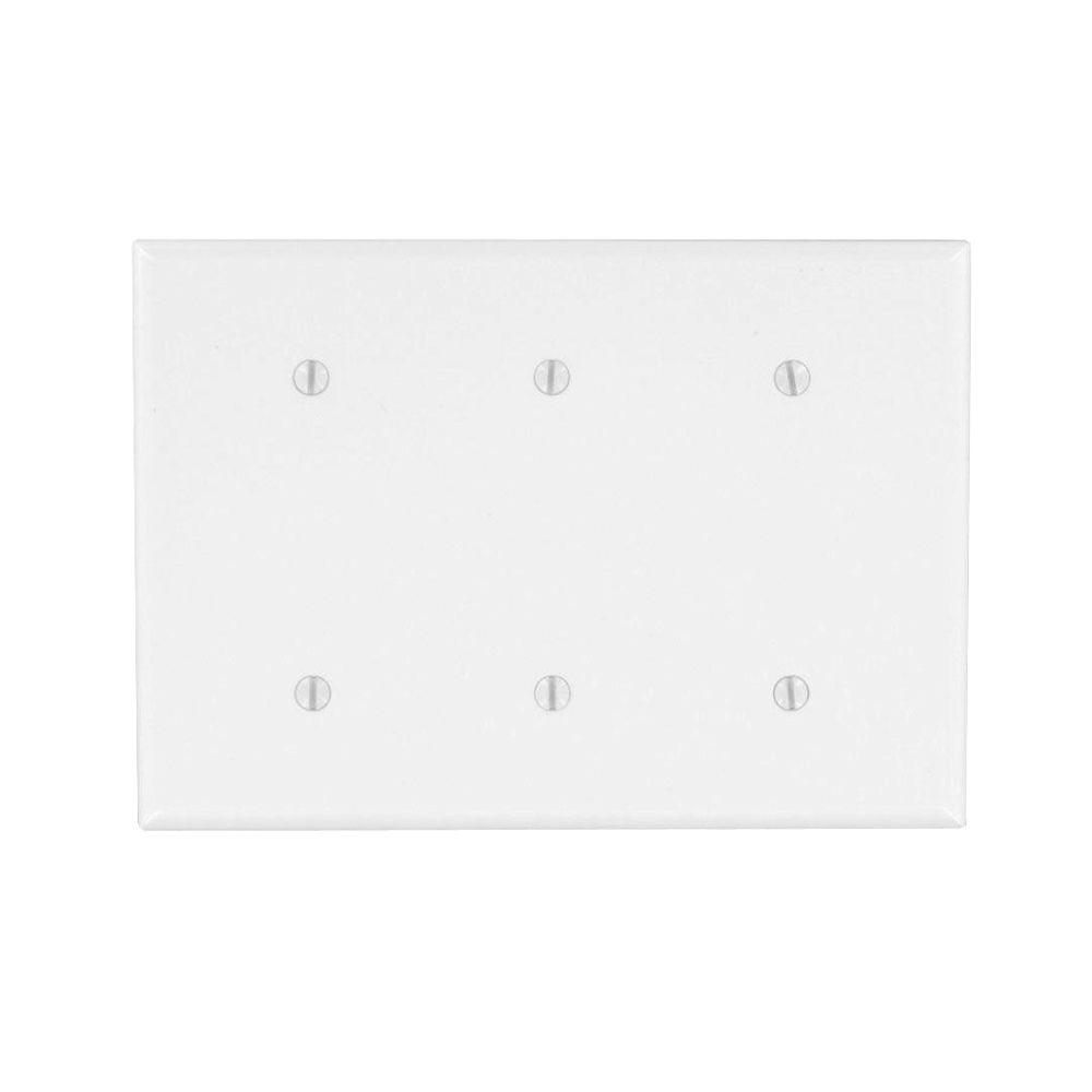3-Gang Midway Blank Nylon Wall Plate, White