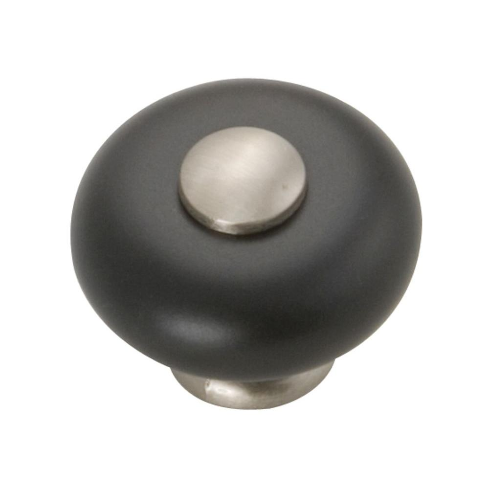Hickory Hardware Tranquility 1-1/4 in. Satin Nickel/Black Cabinet Knob-P222-SNB