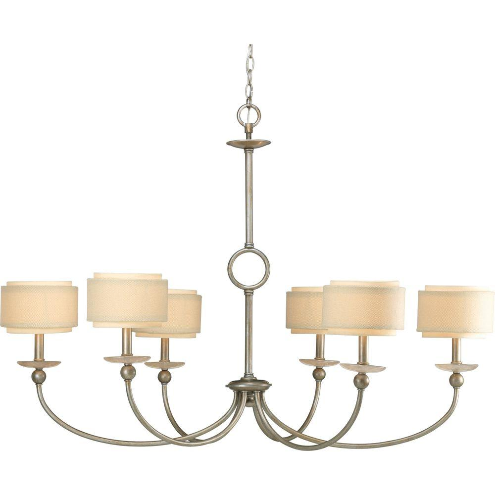 Ashbury Collection 6-Light Silver Ridge Chandelier with Shade
