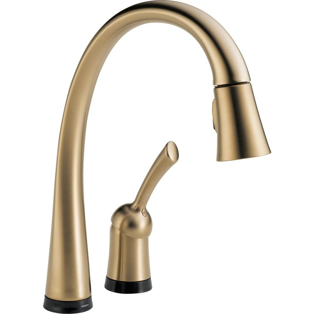 Delta Pilar Single-Handle Pull-Down Sprayer Kitchen Faucet with Touch2O Technology in Champagne Bronze-DISCONTINUED