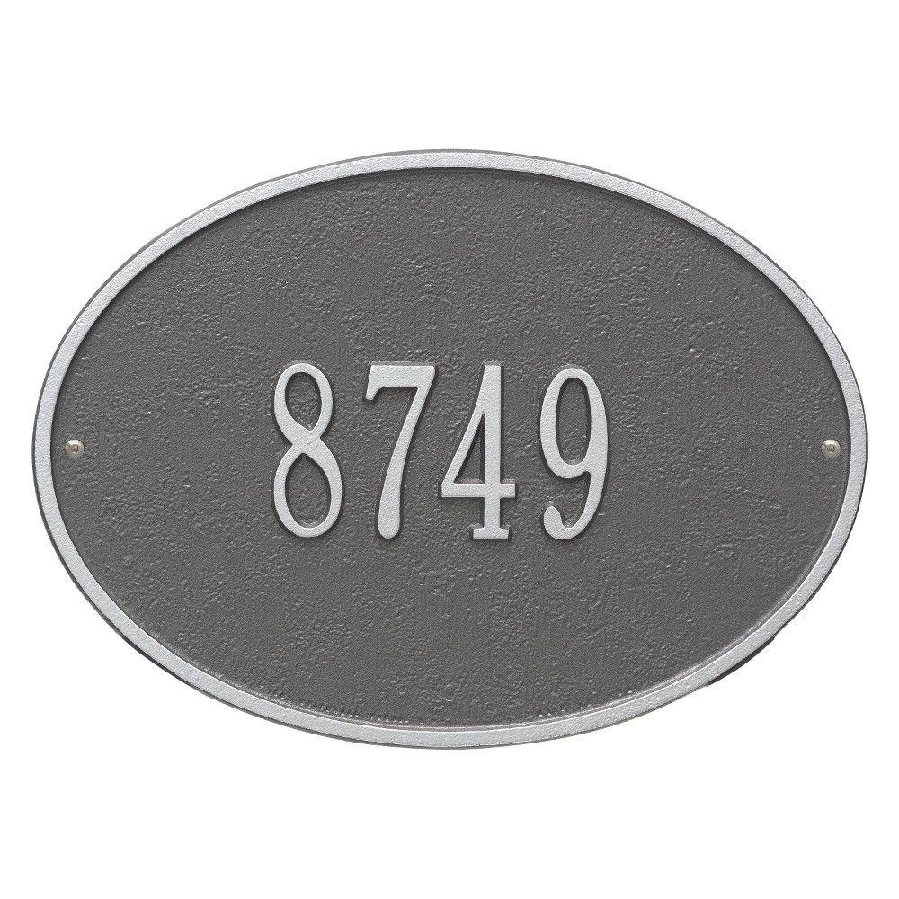 Hawthorne Standard Oval Pewter/Silver Wall 1-Line Address Plaque