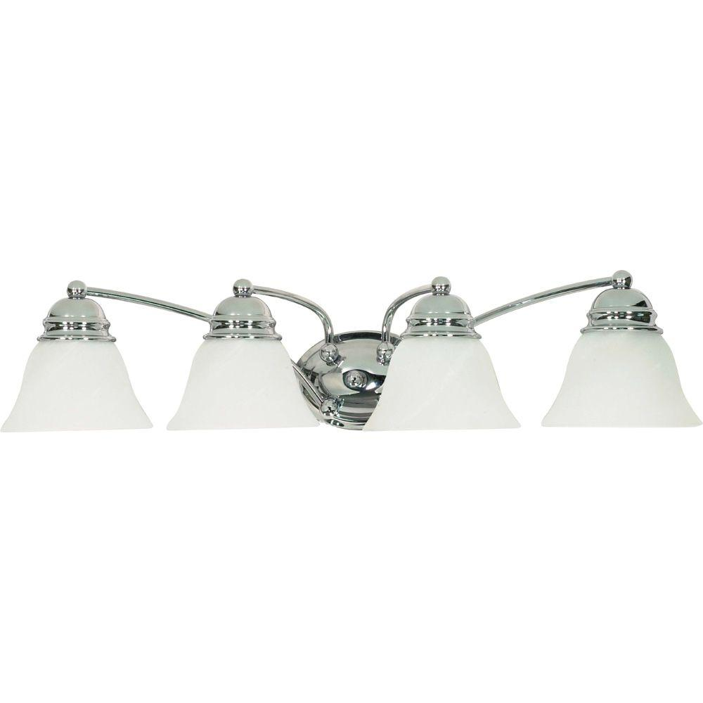 Glomar 4-Light Polished Chrome Vanity Light with Alabaster Glass Bell Shades
