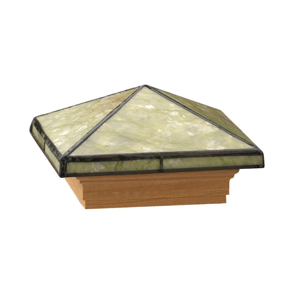 4 in. x 4 in. Tiffany-Style Wood Pyramid Seagrass Jade Post