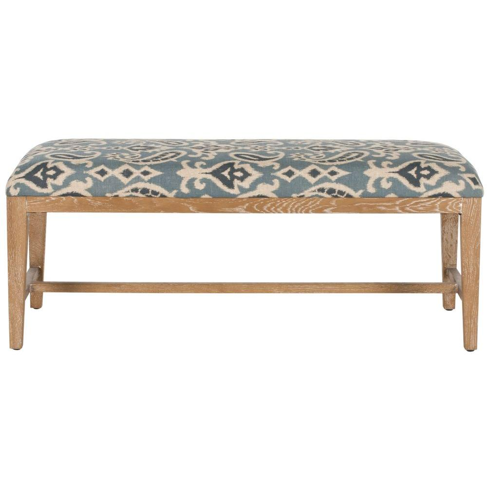Safavieh Zambia Linen Bench in Blue Pattern-MCR4533D - The Home Depot