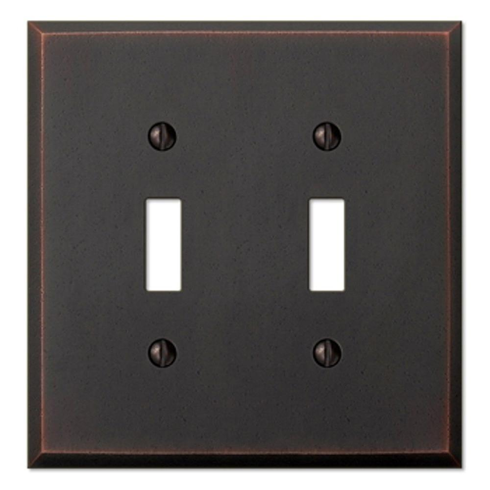 Manhattan 2 Toggle Wall Plate - Aged Bronze